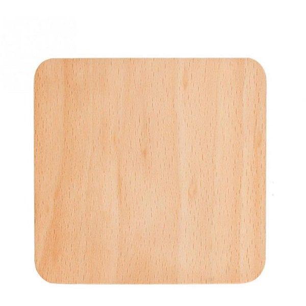 Dessous de verre en bois naturel carré clair
