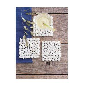Dessous de verre en pierre naturelle (lot de 4) blanc