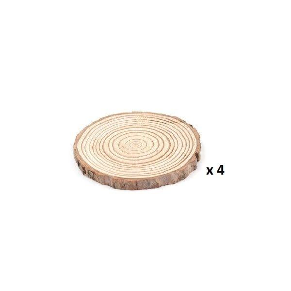 Dessous de verre en rondin de bois 3-5 cm lot de 4