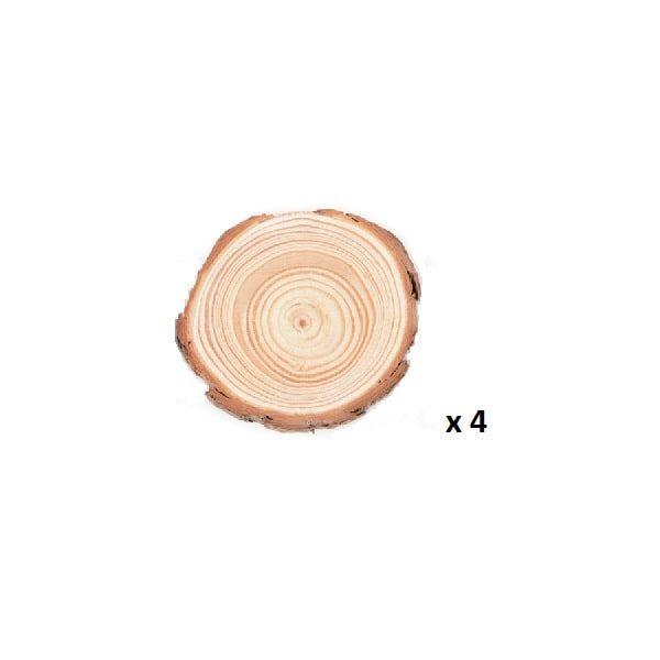 Dessous de verre en rondin de bois 5-7 cm lot de 4