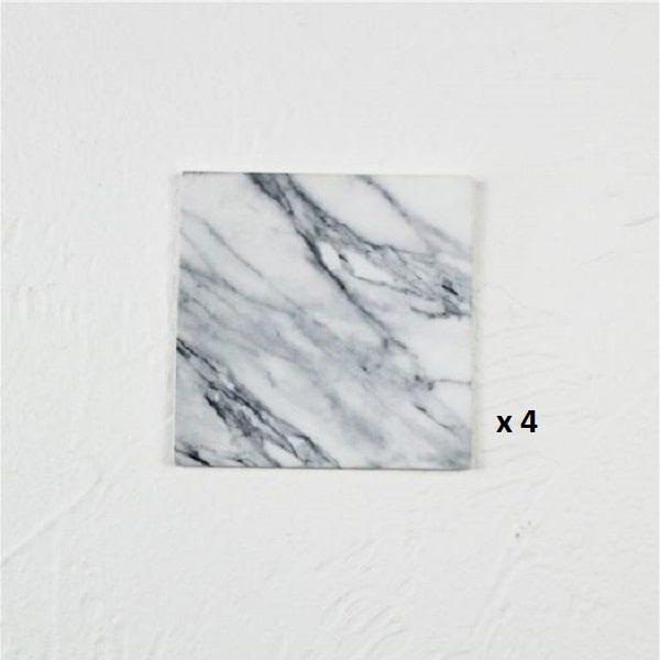 Dessous de verre noir et blanc, majeure blanc carré 4