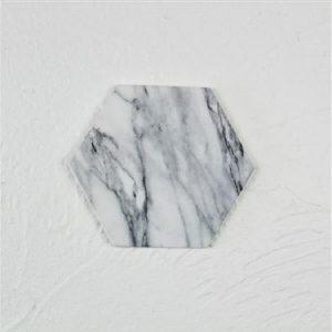 Dessous de verre noir et blanc, majeure blanc hexagone 1