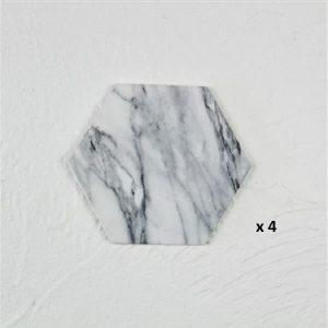 Dessous de verre noir et blanc, majeure blanc hexagone 4