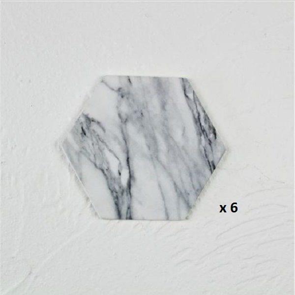 Dessous de verre noir et blanc, majeure blanc hexagone 6