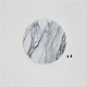 Dessous de verre noir et blanc, majeure blanc rond 4
