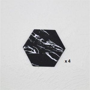 Dessous de verre noir et blanc, majeure noir hexagone 4