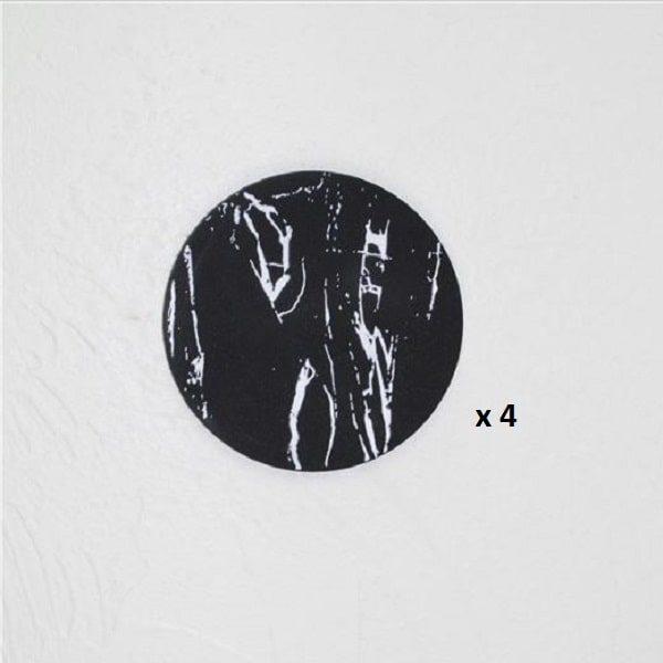 Dessous de verre noir et blanc, majeure noir rond 4