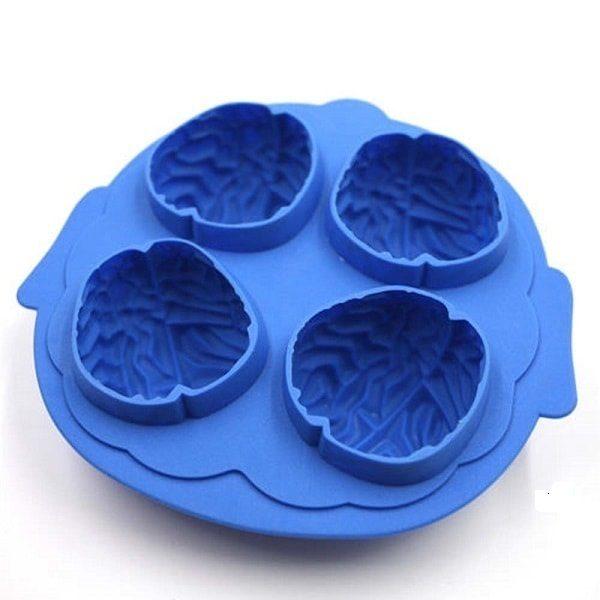 Moule à glaçon cerveau pour halloween bleu lot de 1