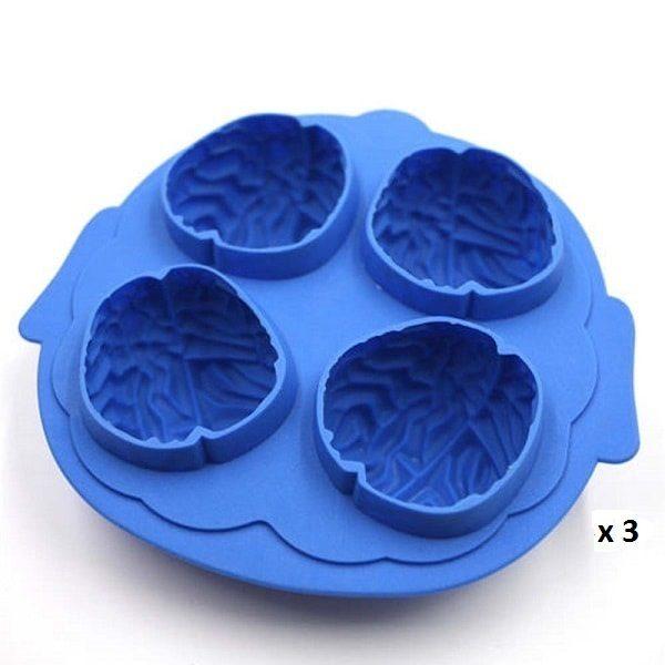 Moule à glaçon cerveau pour halloween bleu lot de 3