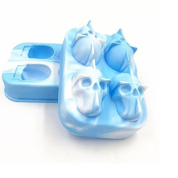 Moule à glaçon tête de mort Bleu et blanc 2