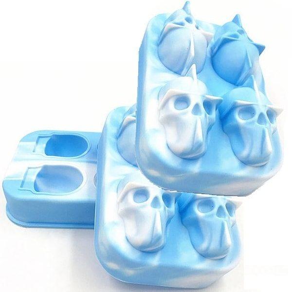 Moule à glaçon tête de mort Bleu et blanc 3