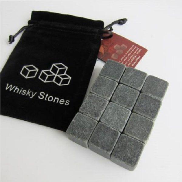 Pierre à whisky en granit - gris foncé lot de 12