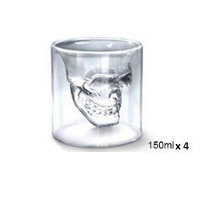 Verre à whisky tête de mort 150 ml x 4