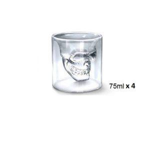 Verre à whisky tête de mort 75 ml x 4