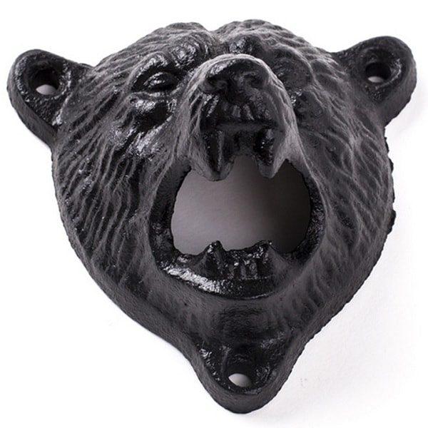 Décapsuleur mural original en tête d'ours