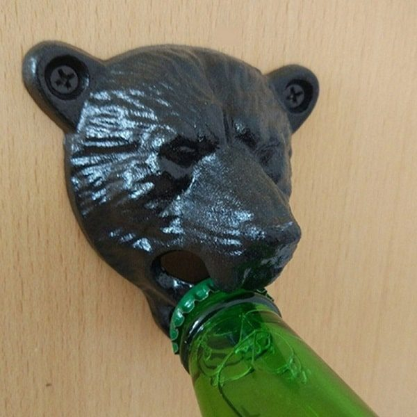 Décapsuleur mural original en tête d'ours, noir