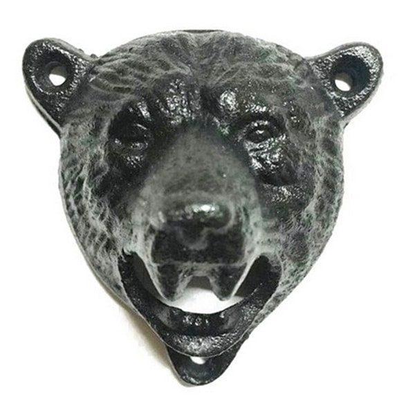 Décapsuleur mural original en tête d'ours, vue de face