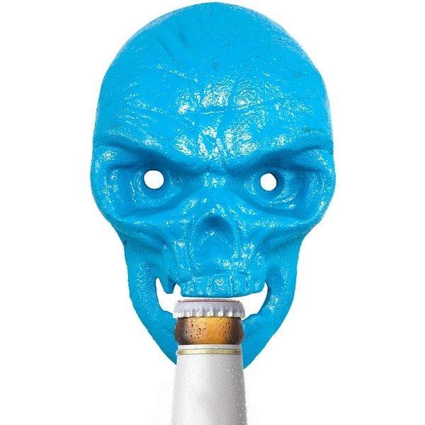 Décapsuleur mural tête de mort, bleu