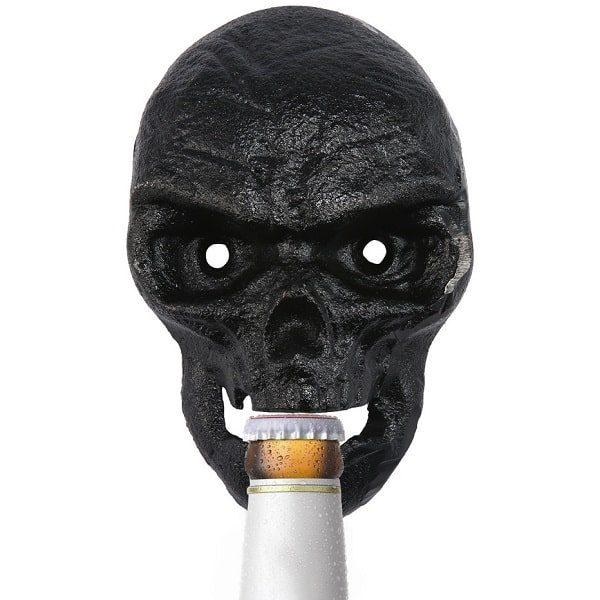 Décapsuleur mural tête de mort, noir