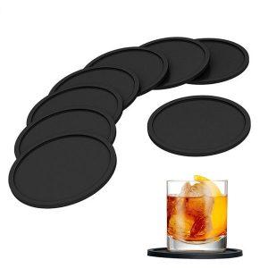 Dessous de verre en silicone noir - lot de 8
