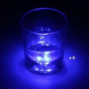 Dessous de verre lumineux à piles, bleu lot de 6