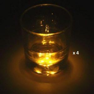 Dessous de verre lumineux à piles, jaune lot de 4