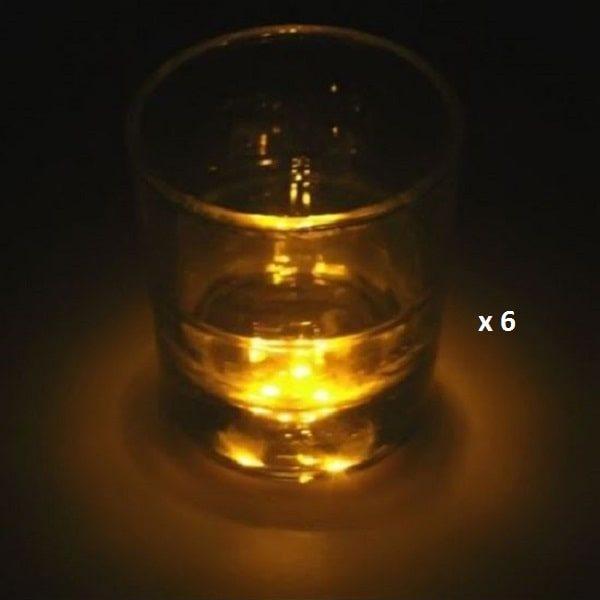 Dessous de verre lumineux à piles, jaune lot de 6