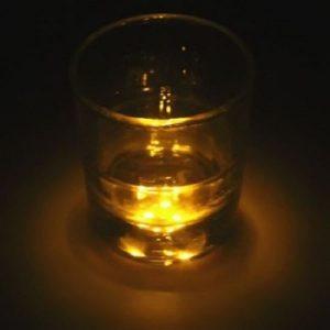 Dessous de verre lumineux à piles, jaune unité