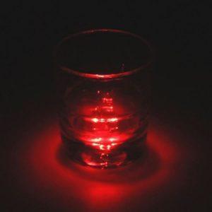 Dessous de verre lumineux à piles, rouge unité
