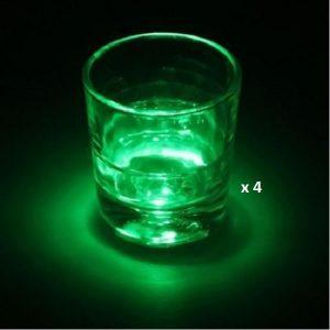 Dessous de verre lumineux à piles, vert lot de 4