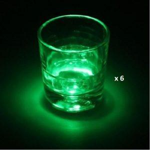 Dessous de verre lumineux à piles, vert lot de 6