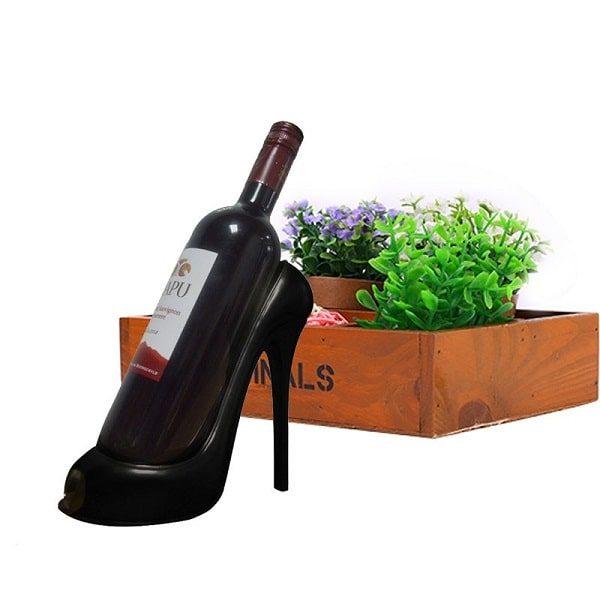 Porte bouteille de vin talon haut, noir