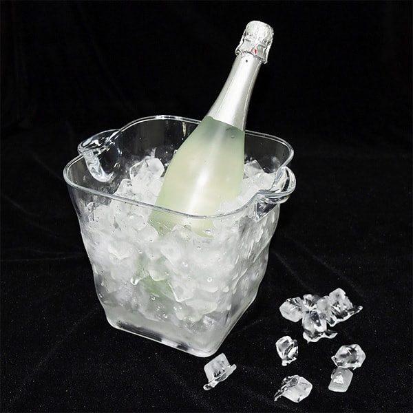 Seau à champagne en plastique transparent