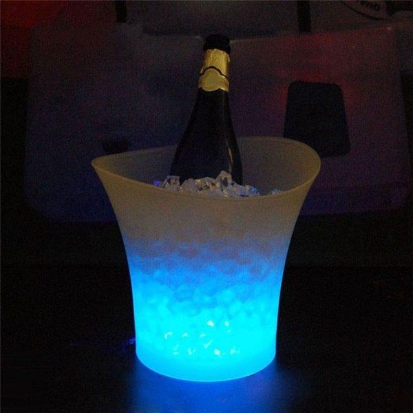 Seau à champagne lumineux bleu