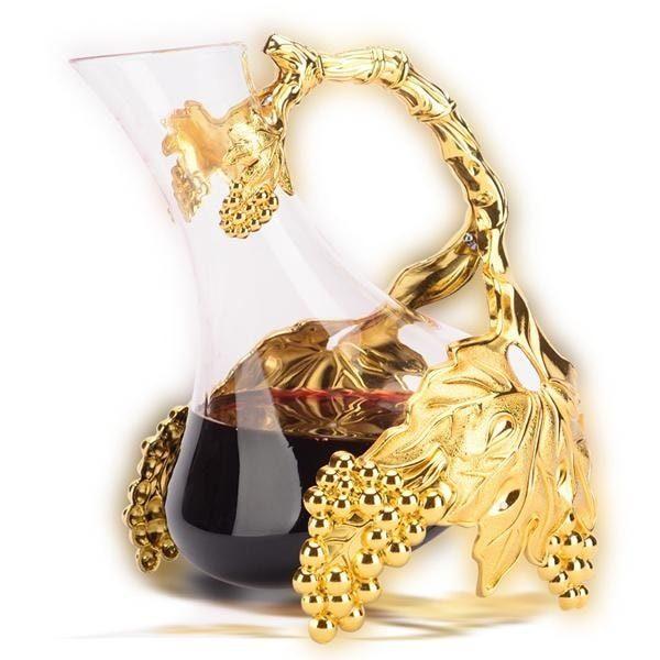Carafe à décanter ancienne, plaqué or