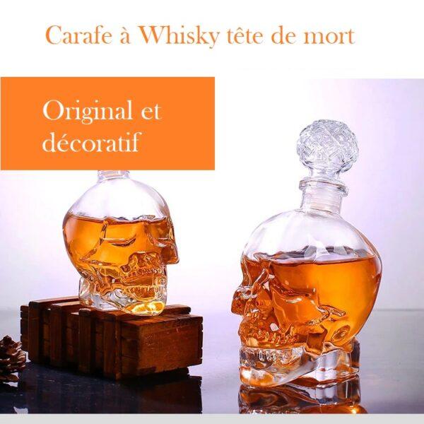 Carafe whisky tete de mort