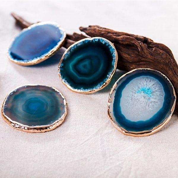 Dessous de verre en pierre bleu