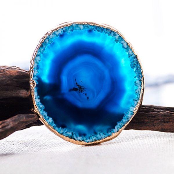 Dessous de verre en pierre couleur bleu