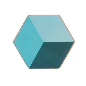 Dessous de verre hexagonal bleu