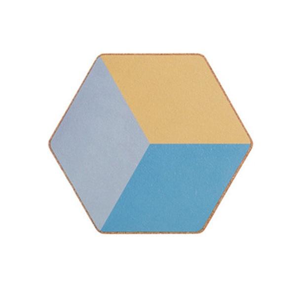 Dessous de verre hexagonal bleu et doré