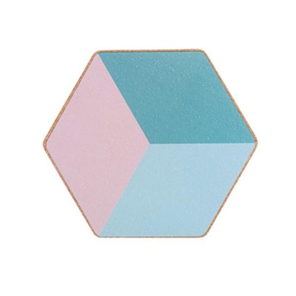 Dessous de verre hexagonal bleu et rose