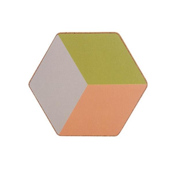 Dessous de verre hexagonal vert orange
