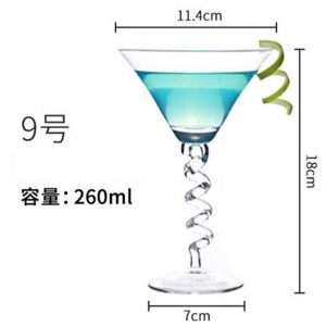 Verre a cocktail original pied torsadé